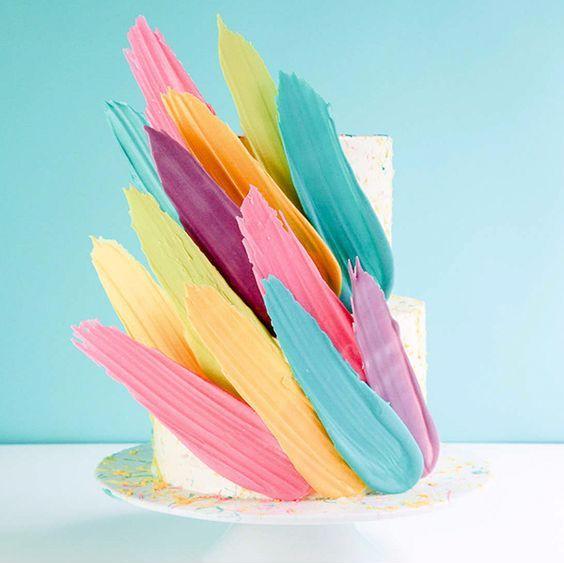 feather brushstroke cake